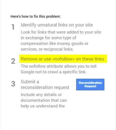 Google manual action screenshot